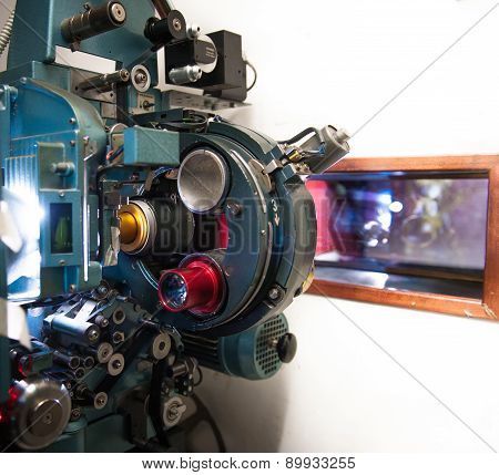 35 Mm Movie Cinema Projector Machine With Out Of Focus Cinema Screen