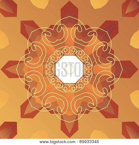 Oriental cover design. Stylized vignette on symmetry background.
