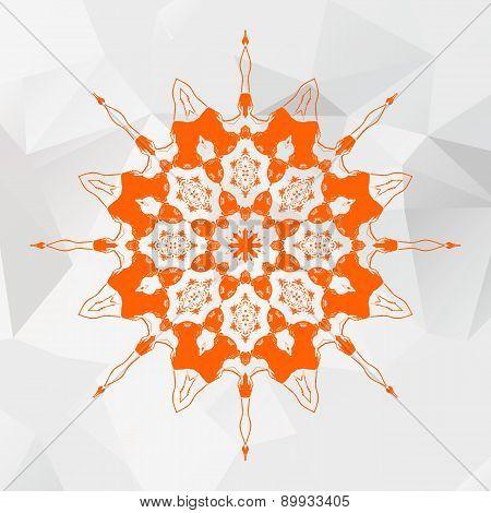 Mandala in orange color on gray triangles mesh background