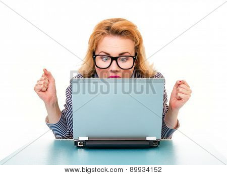 Successful Business Woman Watching In Laptop, Isolated On White