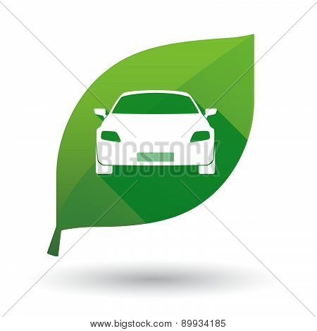 Green Leaf Icon With A Car