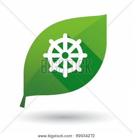 Green Leaf Icon With A Dharma Chakra Sign