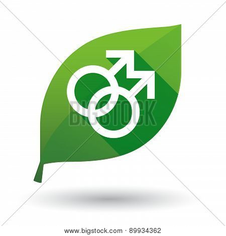 Green Leaf Icon With A Gay Sign