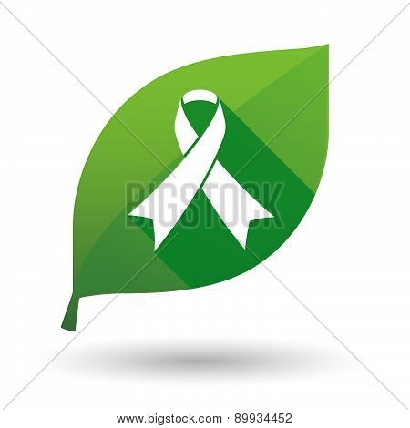 Green Leaf Icon With An Awareness Ribbon
