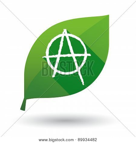 Green Leaf Icon With An Anarchy Sign
