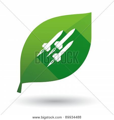 Green Leaf Icon With Missiles