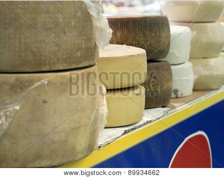Italian Cheese Forms On Sale In A Market