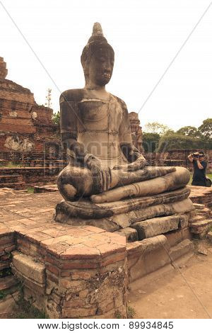 Tourists Visit Old Temple Of Ayutthaya Province