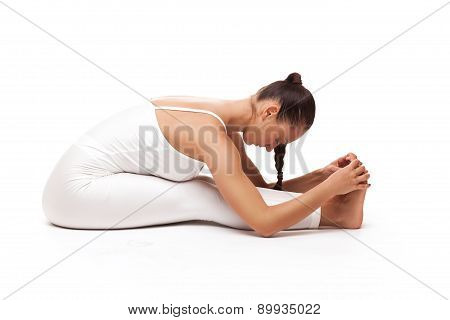 young beautiful woman yoga posing. isolated