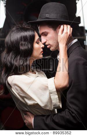 Kissing Couple On Railway Station At Locomotive Background