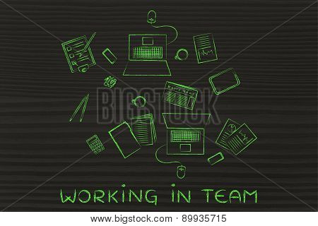 Productive Teamwork: Desk With Business Objects For 2 People