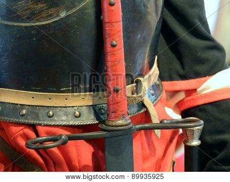 Antique Sword Hilt Of The King In A Medieval Castle