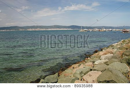 Stony coast of the Black Sea sunny summer day