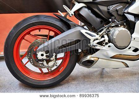 Rear Wheel Of Modern Sports Road Motorcycle