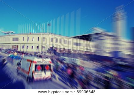Abstract Background. Traffic Blur Motion With Ambulance And Walking Pedestrian.  Barcelona, Spain.