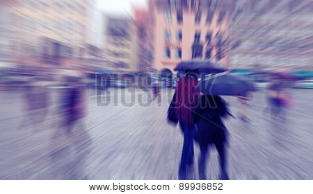 Abstract Background. Rainy Day. Hauptmarkt, The Central Square Of Nuremberg, Bavaria, Germany.  Blur