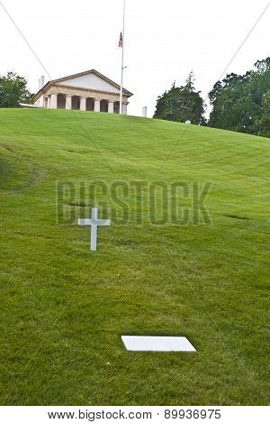 Modest Tomb Of Robert Kennedy In Arlington National Cemetery, Arlington Virginia Usa