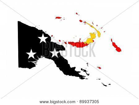Papua New Guinea Flag Map