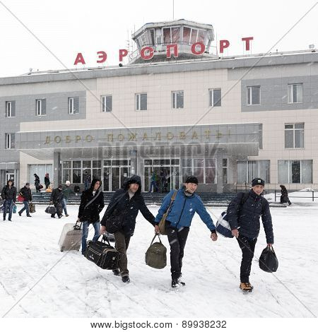 Airport Terminal Petropavlovsk-Kamchatsky And Station Square With People. Kamchatka, Far East