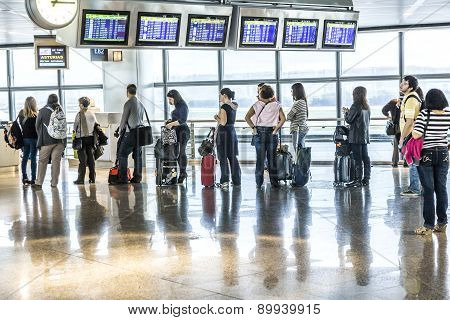 Passengers Wait For Departure In Madris Airport Due To Delay