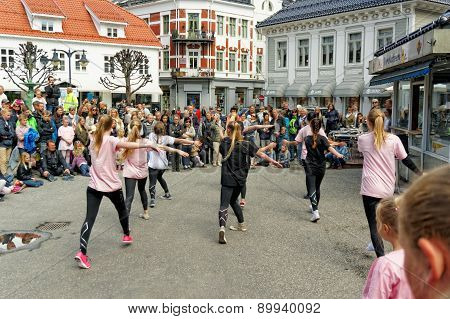Street Performance At Dance Day In Norway