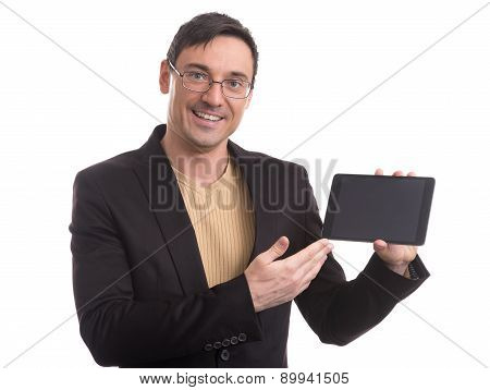 Business Man Shows Digital Tablet With Blank Screen
