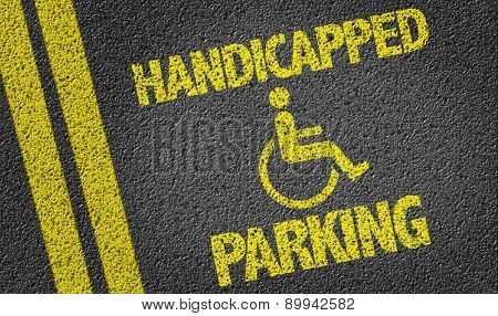 Handicapped Parking written on the road