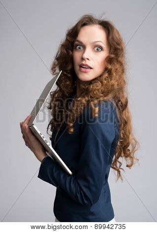 Astonishment Woman With Laptop