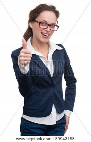 Beautiful Business Woman Showing Thumb Up