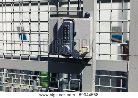 Keypad Lock On A Bicycle Shed