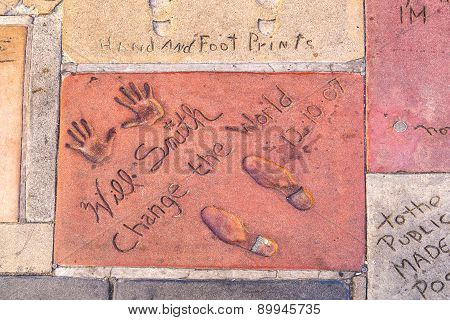 Will Smiths Handprints In Hollywood Boulevard In The Concrete Of Chinese Theatre's Forecourt