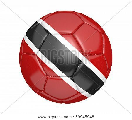 Soccer ball, or football, with the country flag of Trinidad and Tobago