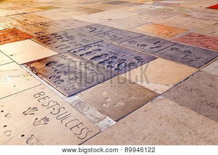 Handprints Of Michael Jackson In Hollywood Boulevard In The Concrete Of Chinese Theatre's Forecourt