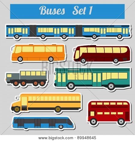 Public transportation, buses. Icon set.