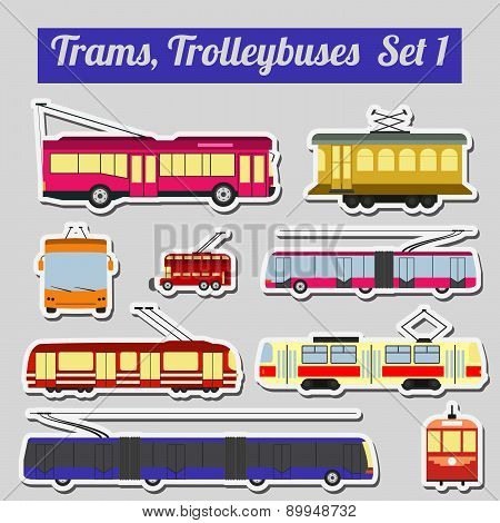 Set of elements trams and trolleybuses for creating your own infographics or maps