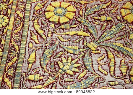 Carpet With Floral Handiwork