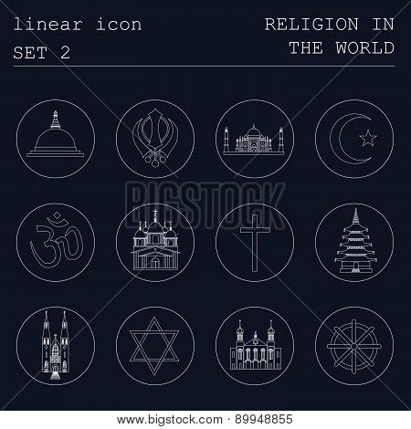 Outline icon set Religion in the world. Flat linear design