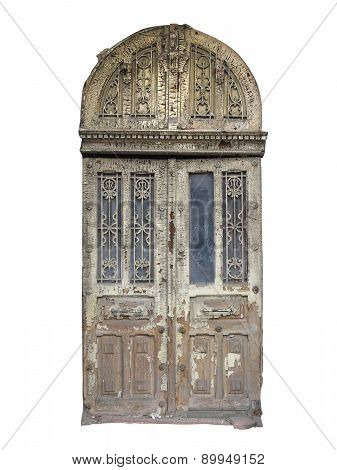 Old Brown Vintage Wooden Door With Decoration Isolated