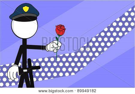 police man pictogram rose background