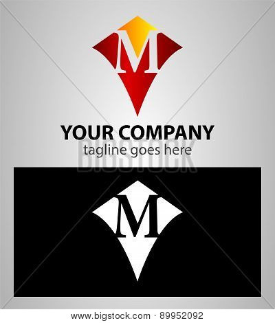 Abstract logo icon design template elements with letter M
