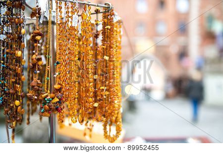 Amber beads for sale on an outdoor  in Gdansk. Poland