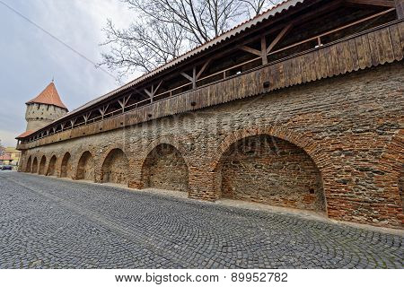 Wooden Ramparts Of The Fortress Wall And Tower Sibiu Romania
