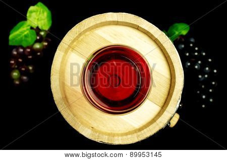 Glass Of White Wine On A Barrel.