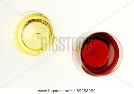 Glasses Of Red And White Wines From Above.