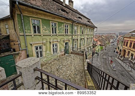 Old Building Near The Lies Bridge Sibiu Romania