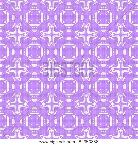 Filet Crochet Lace Design With Cross Ornaments. Seamless Background In Violet