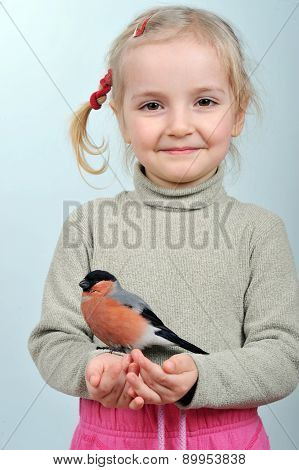 Little Girl And Bullfinch