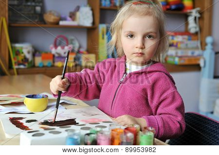 Girl Is Drawing