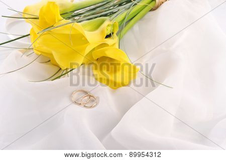 Yellow Calla Lilies And  Wedding Rings