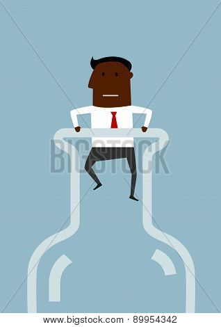 Black american businessman inside a bottle